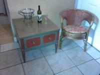 You are looking at one of a kind vintage side table and