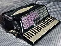 Beautiful Black Harmonium Accordion, Stradella Bass Key
