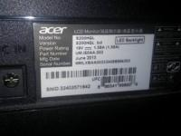 ACER Monitor Model No: s200HQL Version: s200HQL bd Mfg
