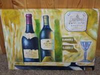 Acrylic ? Wine Painting by A. Wood, this was a painting