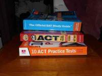 3 BOOKS. 2 ACT STUDY GUIDES W/ TESTS. 1 SAT STUDY GUIDE