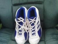 Shoes barely worn.  White with blue on the side and
