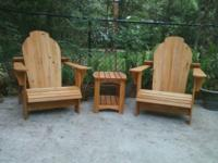 HANDCRAFTED ADIRONDACK CHAIRS MADE FROM CYPRESS WOOD.