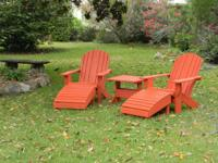 These are hand-crafted, unstained Adirondack chairs.