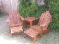 I make Adirondack style chairs made out of Redwood or