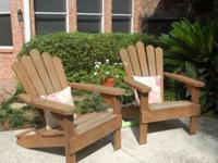 Adirondack wooden chairs -- enjoy a cool drink while