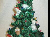 This is a 16 1/2 inch lighted ceramic Christmas tree