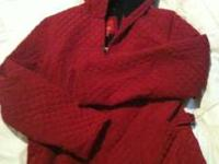 Very nice red patchwork jacket. Size Medium. Pictures