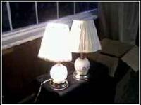 beautiful glass etched lamps with nice shades. 3 levels
