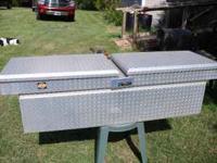Dual lid Adrian Steel truck diamond plate toolbox.