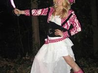 Rarely worn adult pink pirate costume for sale. Size