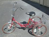 Adult Tri-fecta Trike in Red Folds for easy Transport/