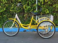 Yellow adult trike, purchased but not used. Ready to