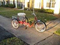 Stunning fire engine red high end adult trike with