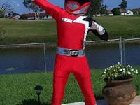 Adult Male Red Ranger Costume made of stretch lycra