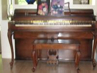 Aeolian upright mahogany piano with matching bench and