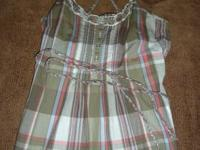 NEW WITH TAGS: Green, pink, & blue plaid girl's tank