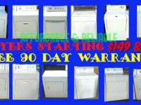 LARGE VARIETY OF ELECTRIC DRYERS $149 & UP TO $249.