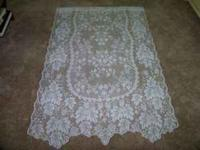 GENTLY USED LACE CURTAIN PANELS & VALANCE FOR SALE.