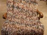 Lovely handmade afghan, produced in brown, cream, tones