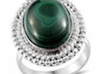 African Malachite (oval) ring in Silvertone (size 6)