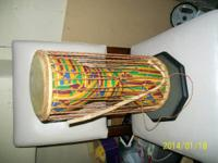 "African Talking Drum with beater  15 1/2 "" tall, 7"""