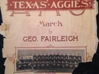 Aggie War Hymn sheet music. Copyright date 1923, simply
