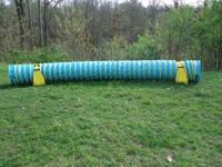 Agility tunnel and tire jump from M.A.D Agility. The