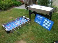 interchangeable air hockey and foosball table. still in