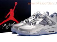 Online sale nike air jordan 4 retro silver leather