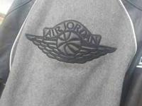 Black And Gray Leather Jordan Jacket Only Worn Once And