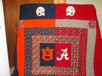 1/2 Alabama 1/2 Auburn king size hand made quilt for