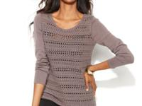 Alfani's pretty crocheted sweater instantly gives your