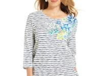 Alfred Dunner's striped and floral-print top makes a