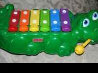 Green Plastic, 6-Bar Aligator Kids Xylophone Toy With