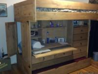 Solid Pine All in One Loft Bed. Full Size bed on top.