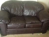 All leather espresso colored sofa, love seat,