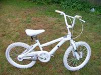 "All white 20"" BMX bike. new paint. it has hand brakes"