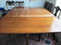 "NICE ALL WOOD DROP LEAF TABLE, 64"" (5'2"") LONG WITH"