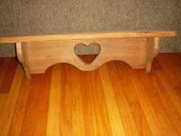 All Wood Shelf w/Heart in the middle, $10, 23 1/2 x7 x