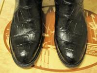 Black custom made alligator boots. Size is 10.5 D.