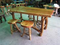 Handmade Alligator Juniper Table & 4 Stools. Made by