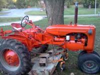Allis Chalmers c model with woods finish mower. Runs