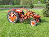 1948 ALLIS CHALMERS G WITH RAKE AND BLADE. CAN EMAIL
