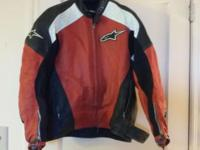 This is a used Alpinestars TZ1 Black/Red Leather