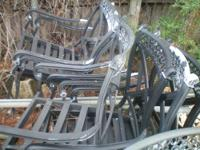 sET of 8 MATCHING ALUMINUM CAST CHAirs. Very sturdy,