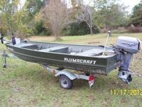 "2000 Aluminum Craft, 14 ft x 43"", 25 hp Johnson motor,"