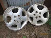 "2 aluminum 5 hole jwl 14"" rims, center hole 1 1/4"","