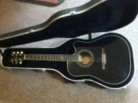 Alvarez FD60 acoustic electric guitar, black, with