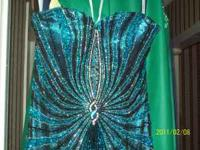 BEAUTIFUL AQUA & BLACK , SEQUINS ALL OVER SHOWS GREAT